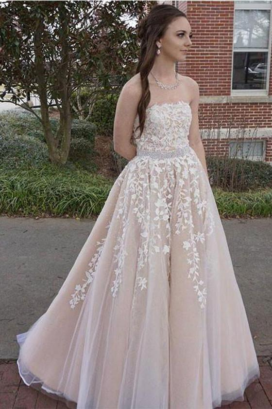 Charming Strapless V Neck Prom Dress, Sexy Sleeveless Evening Dress, Tulle Appliques Long Prom Dresses, PD0424