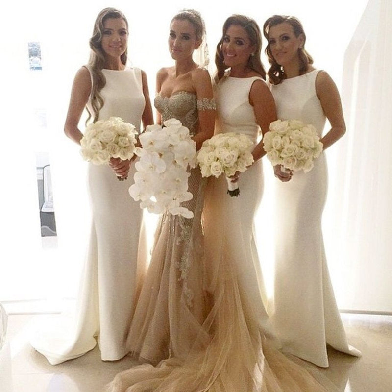 New Arrival Floor-length white sleeveless simple scoop neck long bridesmaid dresses  , BD0438