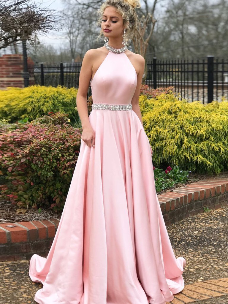 A-line Halter Backless Beading Pink Long Prom Dresses, PD0147