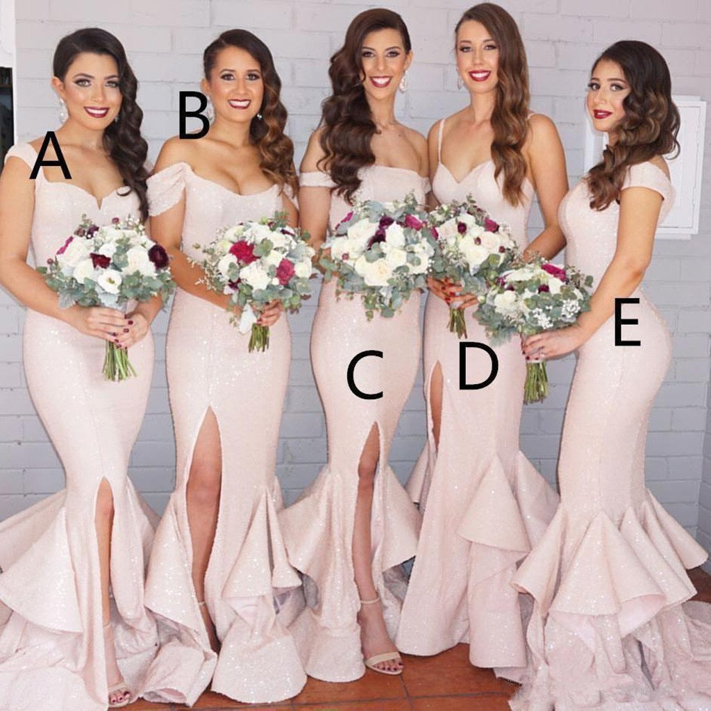 Mermaid sexy blush pink side slit off-shoulder Spaghetti Straps Long Bridesmaid Dresses, BD0464