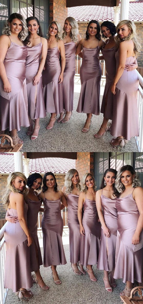 Modest Sexy Spaghetti Straps Tea-length Cheap Simple long Bridesmaid Dress, BD0509