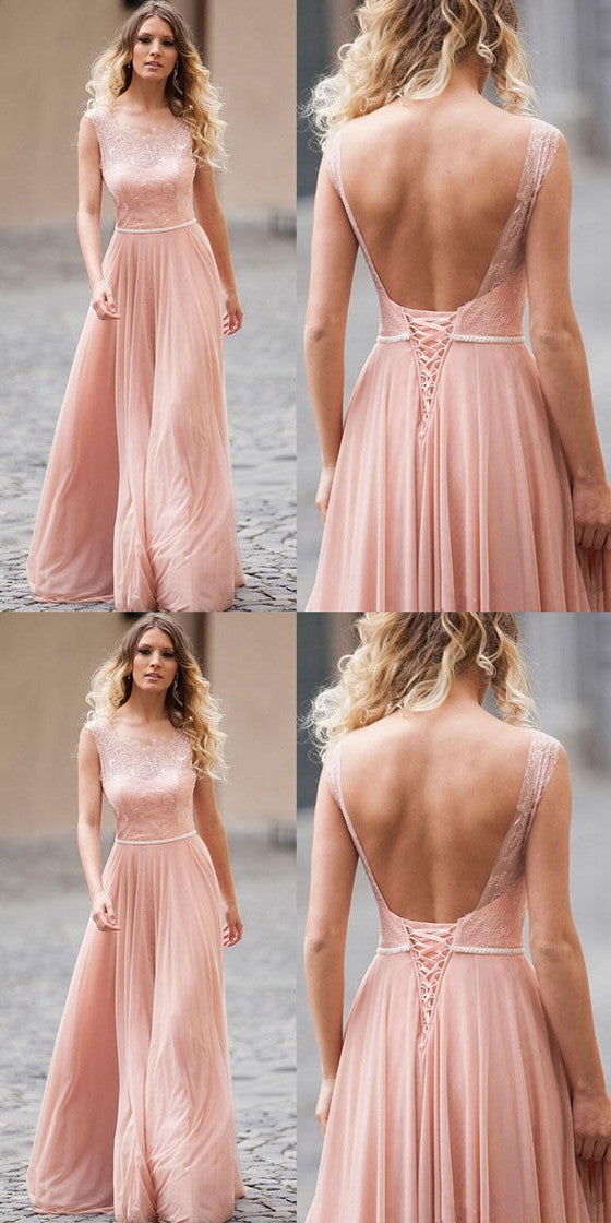A-line Blush Pink Backless Lace Up Back Long Bridesmaid Dresses, BD0550