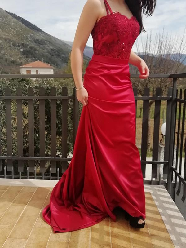 Lace Spaghetti Straps Sleeveless Custom Evening Prom Dresses, Prom Dresses, OL013