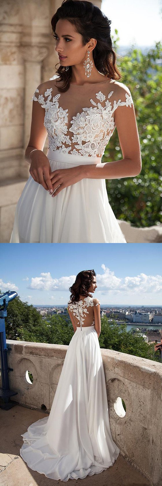 A-Line Sexy Modern Simple Chiffon Cap Sleeves High Slits Long Wedding Dress, WD0378