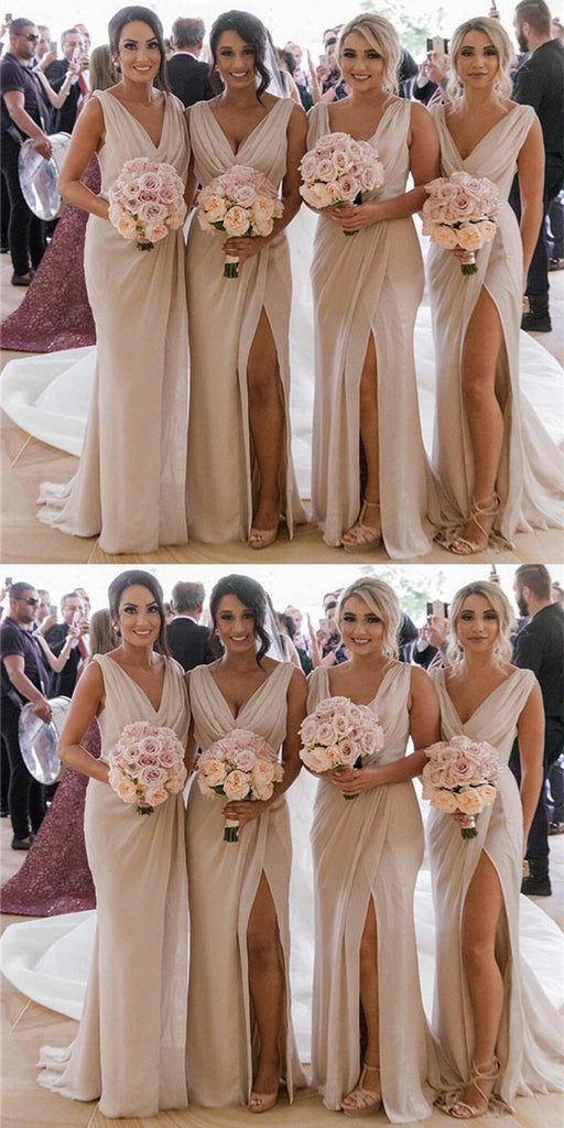 Mermaid V Neck High Split Cheap Bridesmaid Dresses With Pleats, BD0552