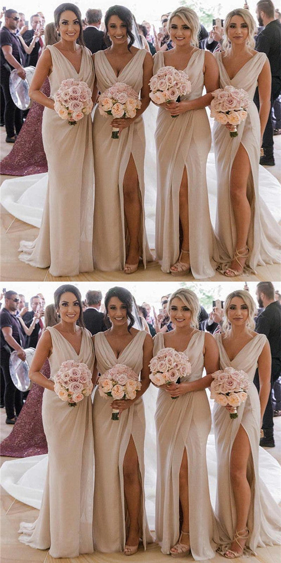 16fbdb6ee3 Mermaid V Neck High Split Cheap Bridesmaid Dresses With Pleats