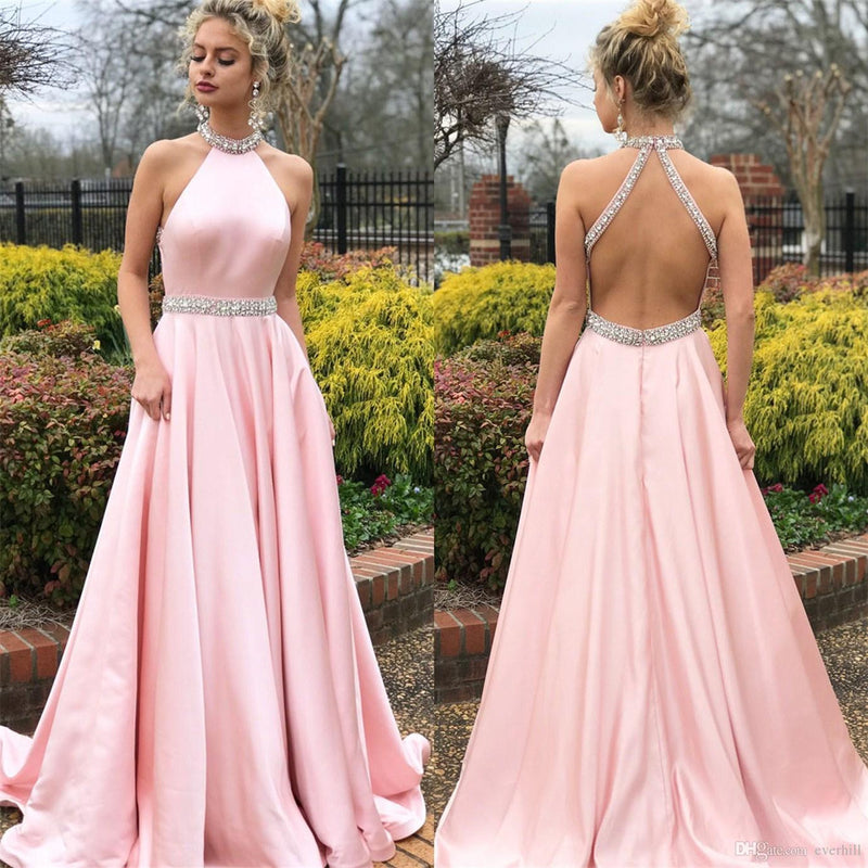 8877f209be A-line Halter Backless Beading Pink Long Prom Dresses
