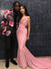 Pink Mermaid Sleeveless Custom Cheap Prom Dresses,Sweet 16 Prom Dresses, OL017