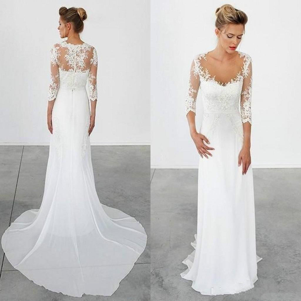 Great New Arrival Chiffon 3/4 Long Sleeve Lace Simple Cheap Beach Wedding Dresses  With Train