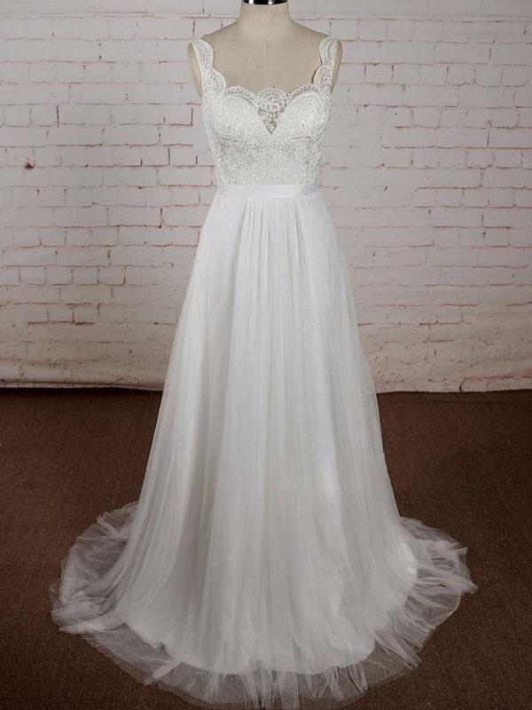 A-line V-neck Lace Top Tulle Skirt Sleeveless Simple Cheap Wedding Dress, WD0373