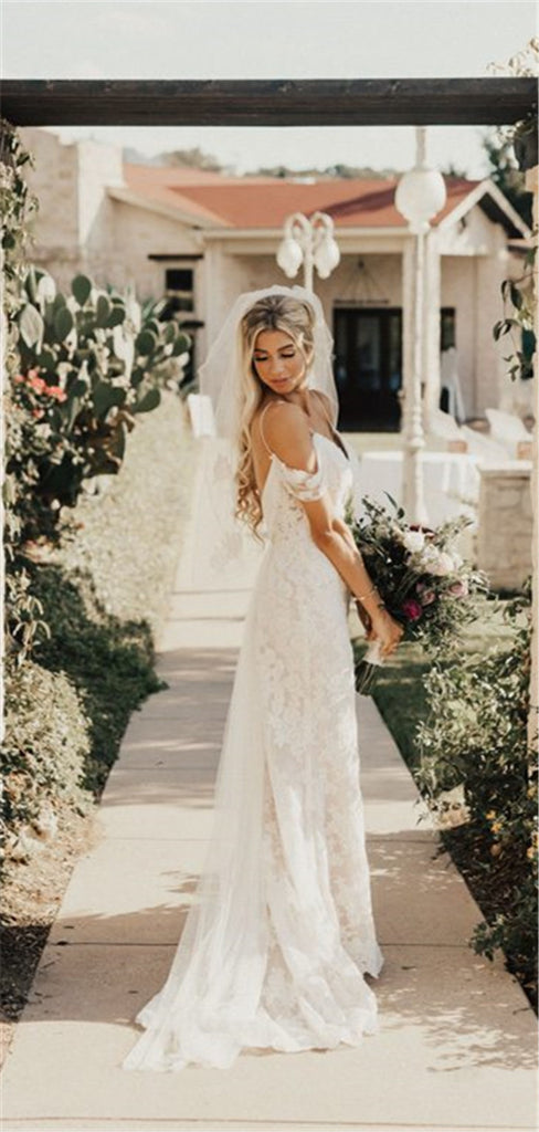 Sheath Off-shoulder V-neck Backless Long Lace Wedding dresses, WD0418