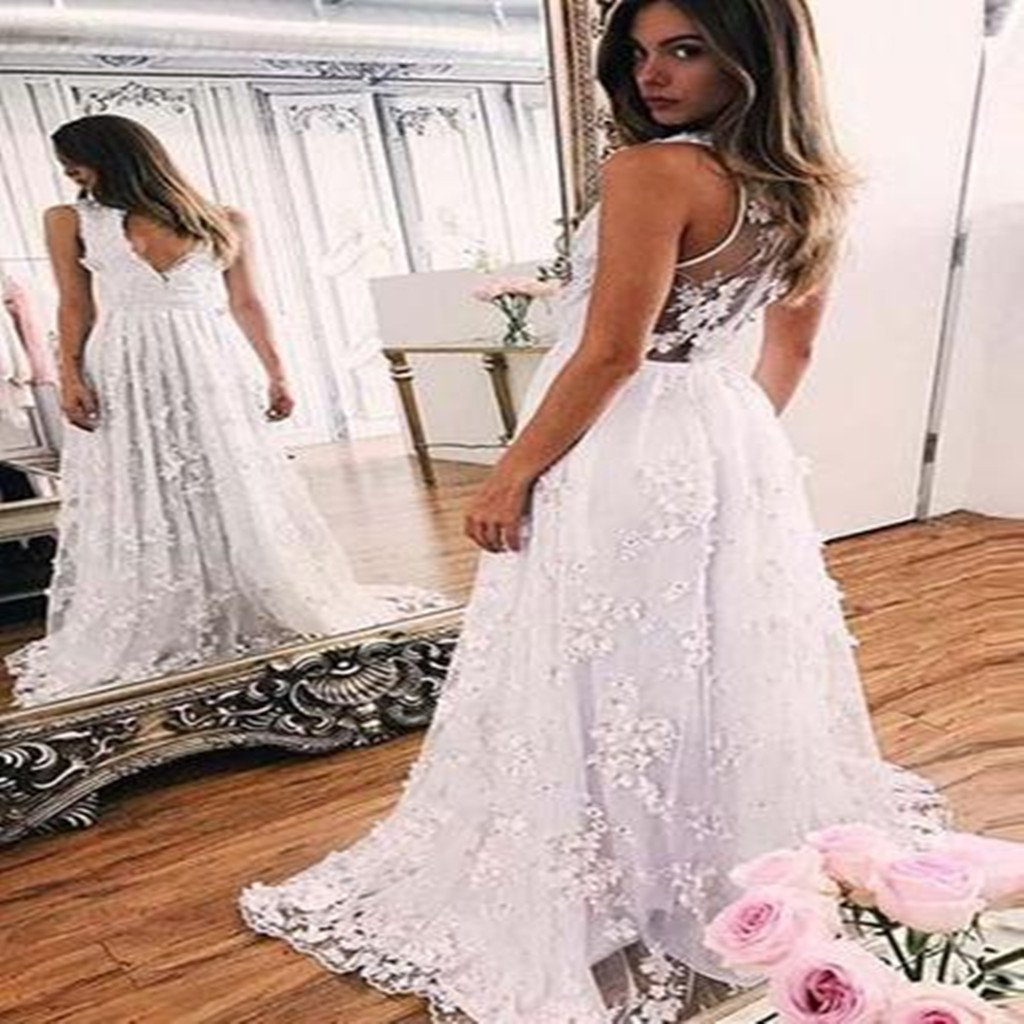 2018 Sweep train A-line White Lace V-neck Appliques Sleeveless Evening Dress Prom Dresses, PD0418