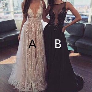 A-Line Deep V-Neck Tulle Lace Appliques Floor-Length Long Sexy Prom Dress, PD0121