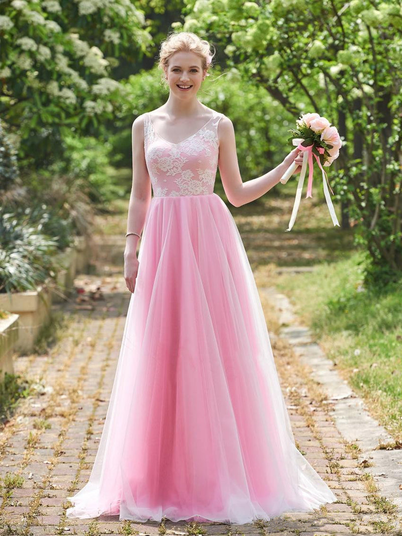 A-line V-Neck Pink Sleeveless Applique Tulle Bridesmaid Dresses, BD0559