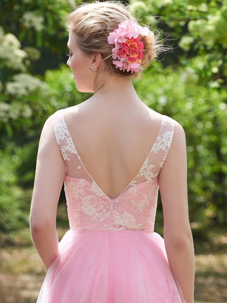A-line V-Neck Pink Sleeveless Applique Tulle Bridesmaid Dresses, BD0559-1