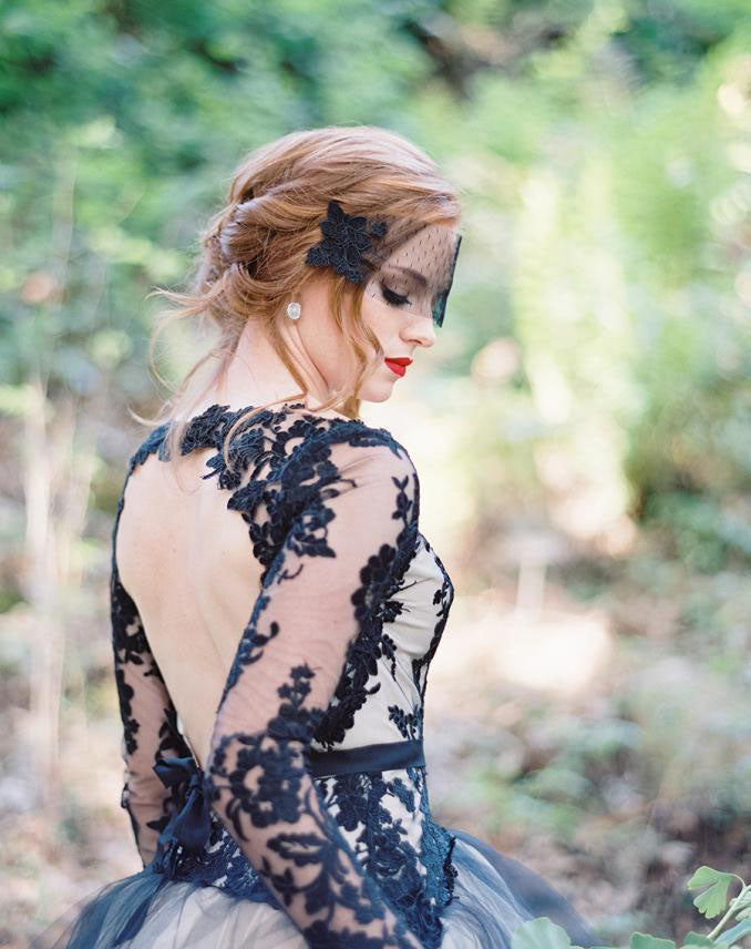 Charming Black Lace Top Sexy Deep V neck unique long sleeves Wedding Gown Wedding Dresses, WD0181