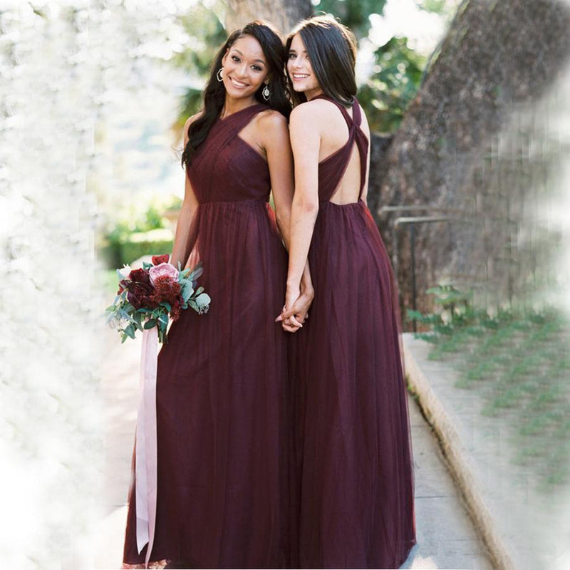 A-line Floor-length Burgundy Sleeveless Tulle Bridesmaid Dresses, BD0556
