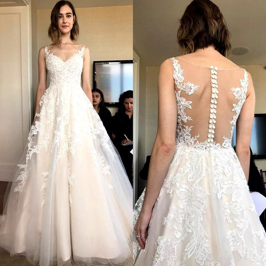 New Arrival Floor-length Lace applique sleeveless tulle backless wedding dresses, WD0342