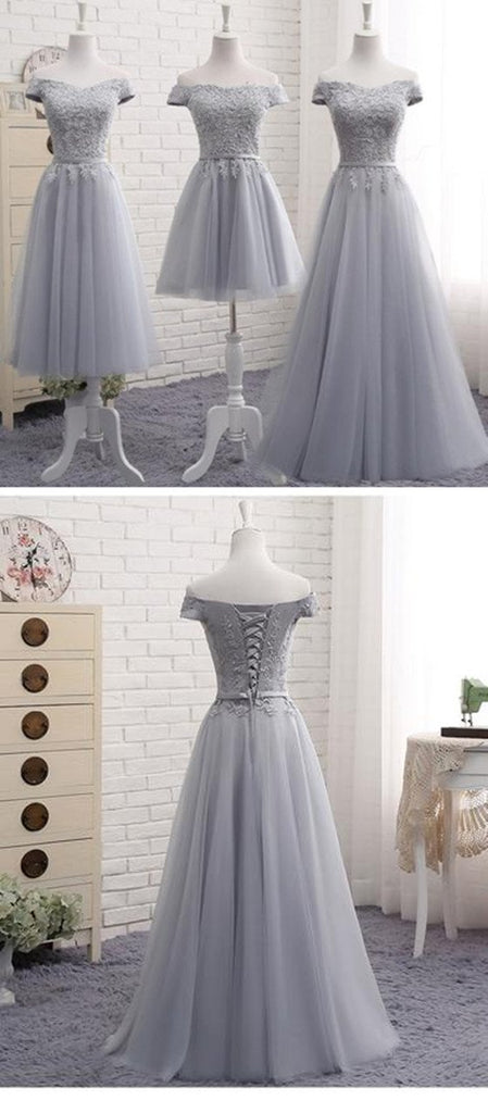 A-Line Gray Lace Off the Shoulder Tulle Lace-up Sweetheart Prom Dress, PD0415