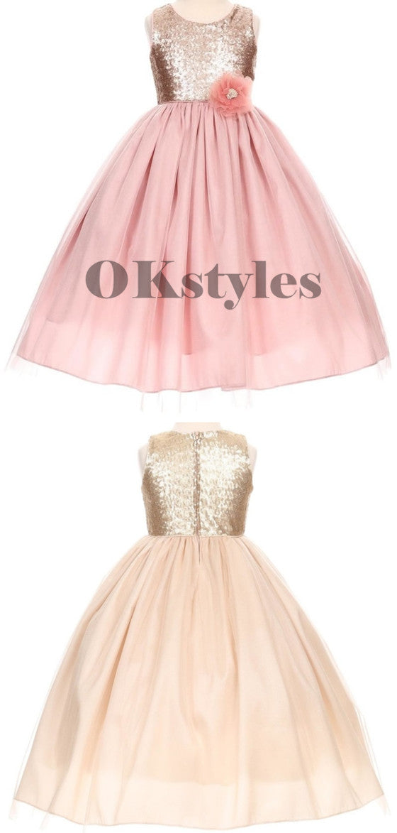 Newest Rose Gold Sequins Sleeveless Girl's Tutu, Cheap Flower Girls Dresses, FG0123