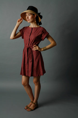 Red Patterned Day Dress w/ Hidden Placket