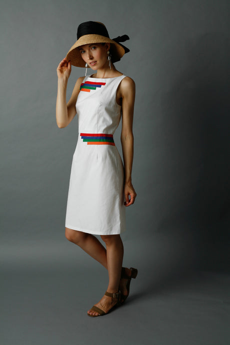 White Sleeveless Shift Dress w/ Multicolor Trim