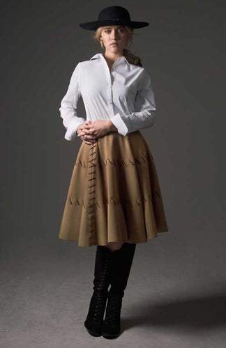 Wool Skirt w/ Chocolate Brown Stitching