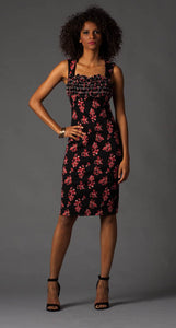 Black and Red Floral Dress w/ Ruffle at Bodice