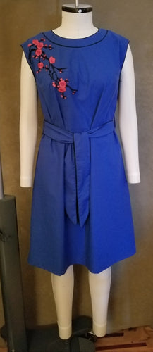 Sapphire Blue Cap Sleeve Dress w/ Embroidery