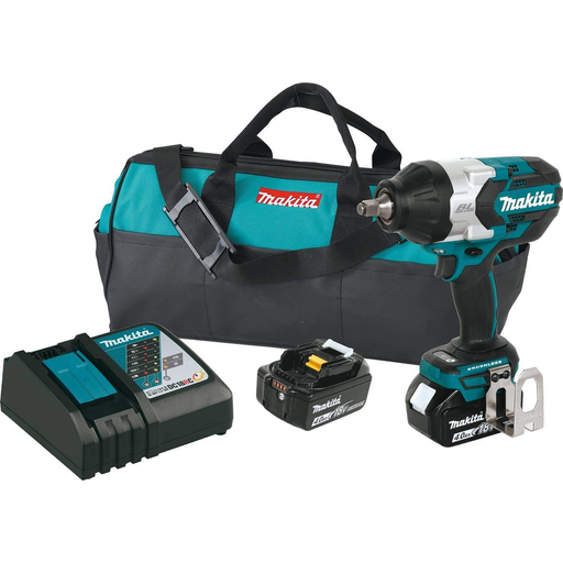"Makita XWT08M 18 Volt LXT Brushless 1/2"" Impact Wrench Kit"