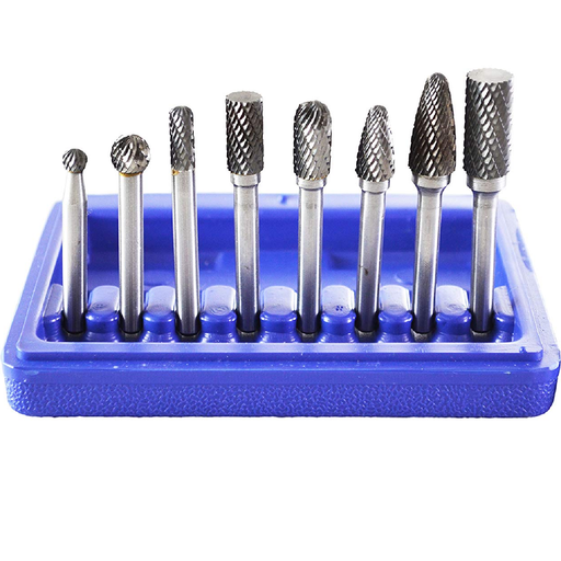 Astro Pneumatic 2181 8 Piece Double Cut Carbide Rotary Burr Set In Blow Molded Case