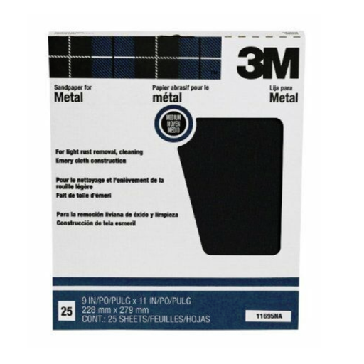 3M 2432 Crystal Bay Emery Medium Cloth Sheets 9 x 11 Inch