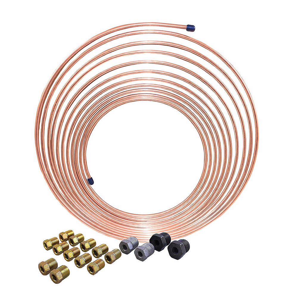 "AGS CNC-325K 3/16"" x 25' Nickel Copper Brake Line Coil and Tube Nut Kit"