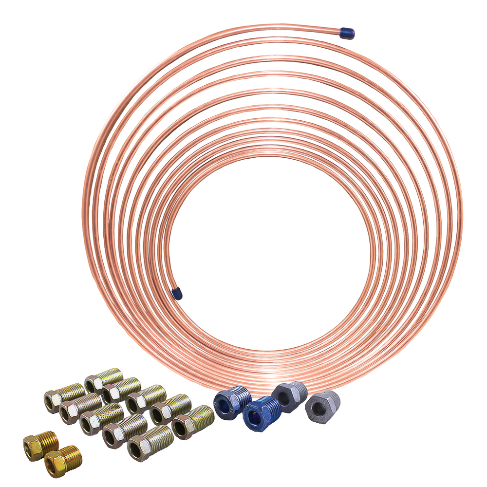 "AGS CNC-425K 1/4"" x 25' Nickel Copper Brake Line Coil and Tube Nut Kit"