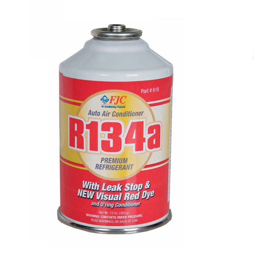 FJC 618 R134A Red Dye Premium Refrigerant with Leak Stop - 13 oz Can