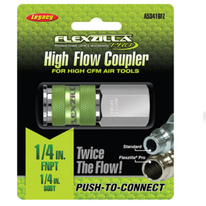 "Flexzilla A53416FZ High Flow Coupler - 1/4"" Body 1/4"" FNPT"