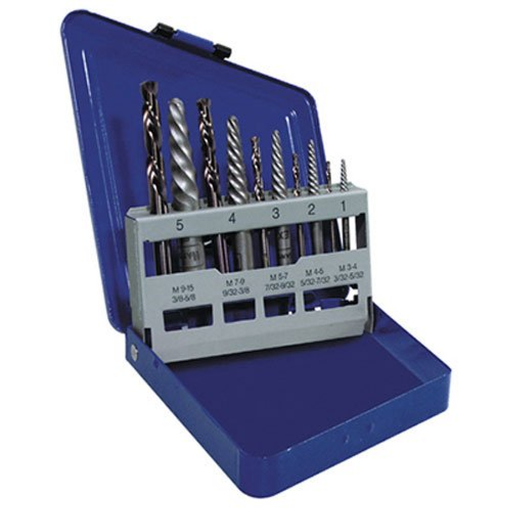 IRWIN 11119 10 Piece Screw Extractor Set with Cobalt LH Drill Bits