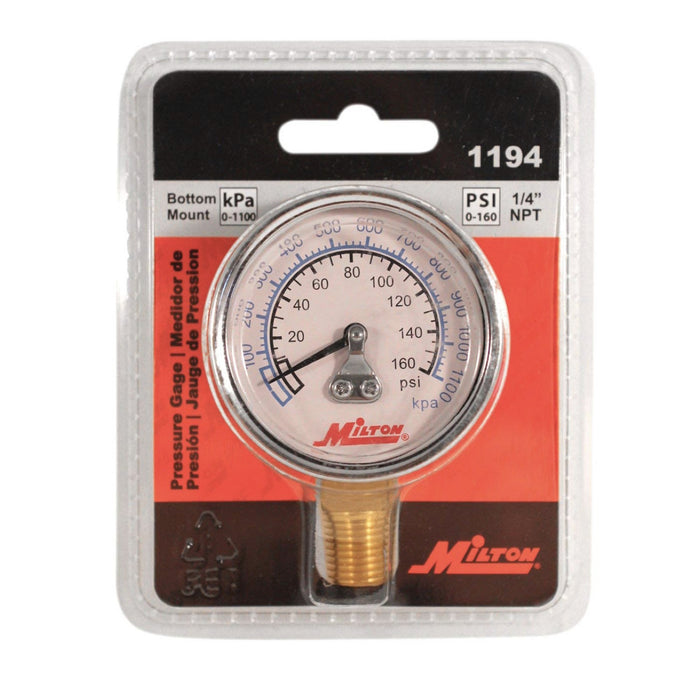 "Milton 1194 1/4"" NPT 2 Face Bottom Mount Pressure Gage 0-160 PSI"