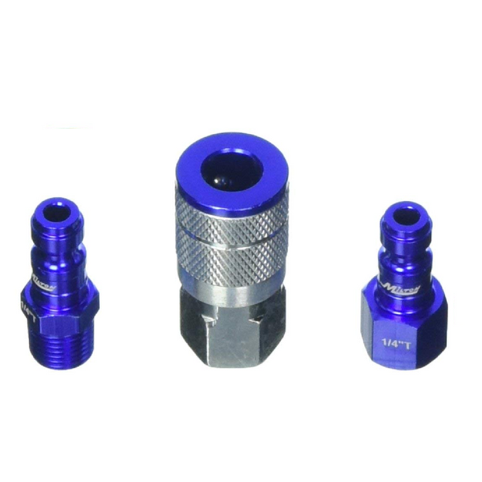 "Milton S-303TKIT 3 Piece T-Style 1/4"" NPT Blue ColorFit Coupler & Plug Kit"