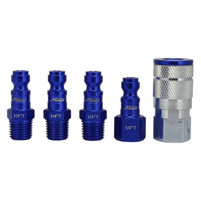 "Milton S-305TKIT 5 Piece T-Style 1/4"" NPT Blue ColorFit Coupler & Plug Kit"