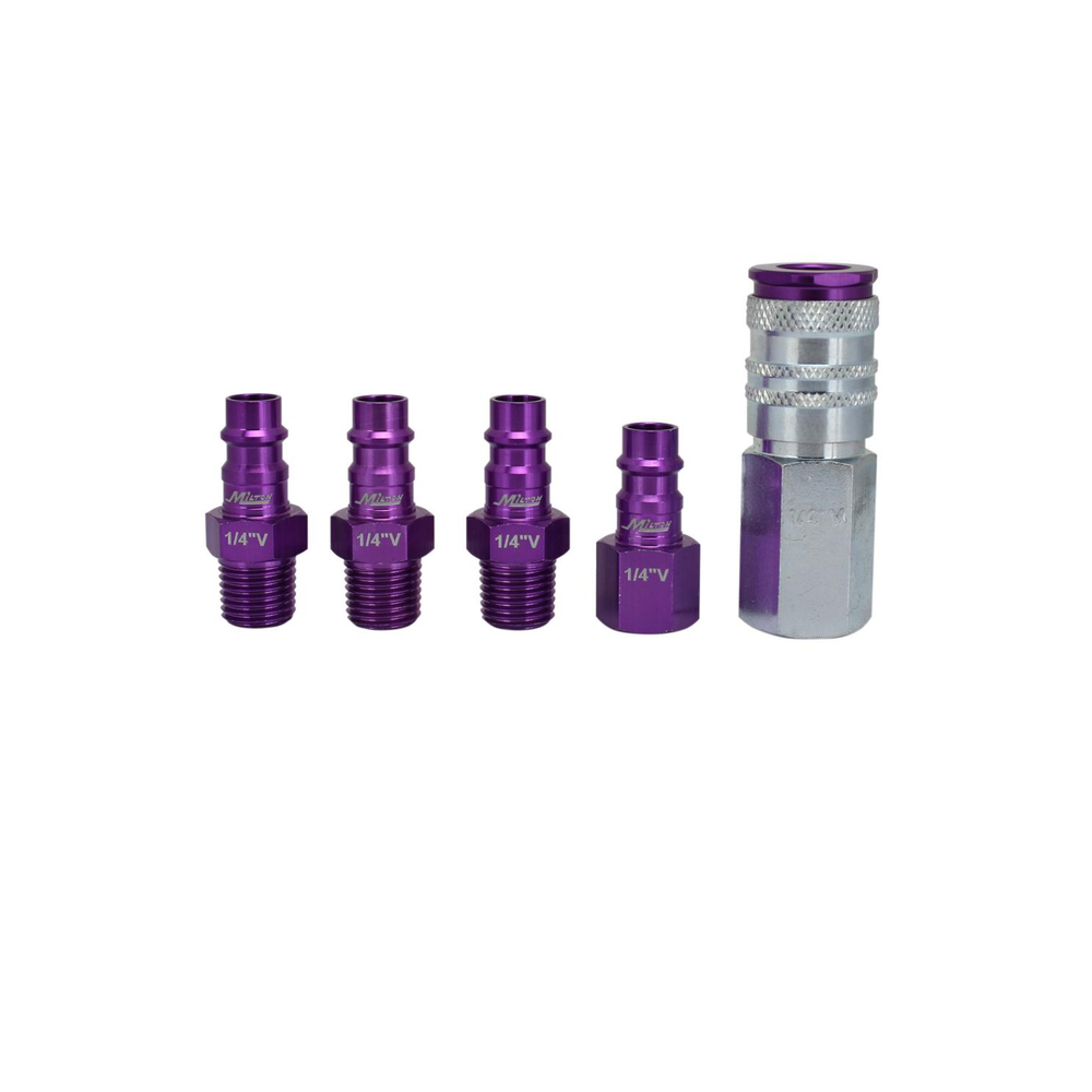"Milton S-305VKIT 5 Piece Hi-Flo V-Style 1/4"" NPT Purple ColorFit-Mega-Flow Kit"