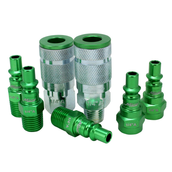 "Milton S-307AKIT 7 Piece A-Style 1/4"" NPT Green ColorFit Coupler & Plug Kit"
