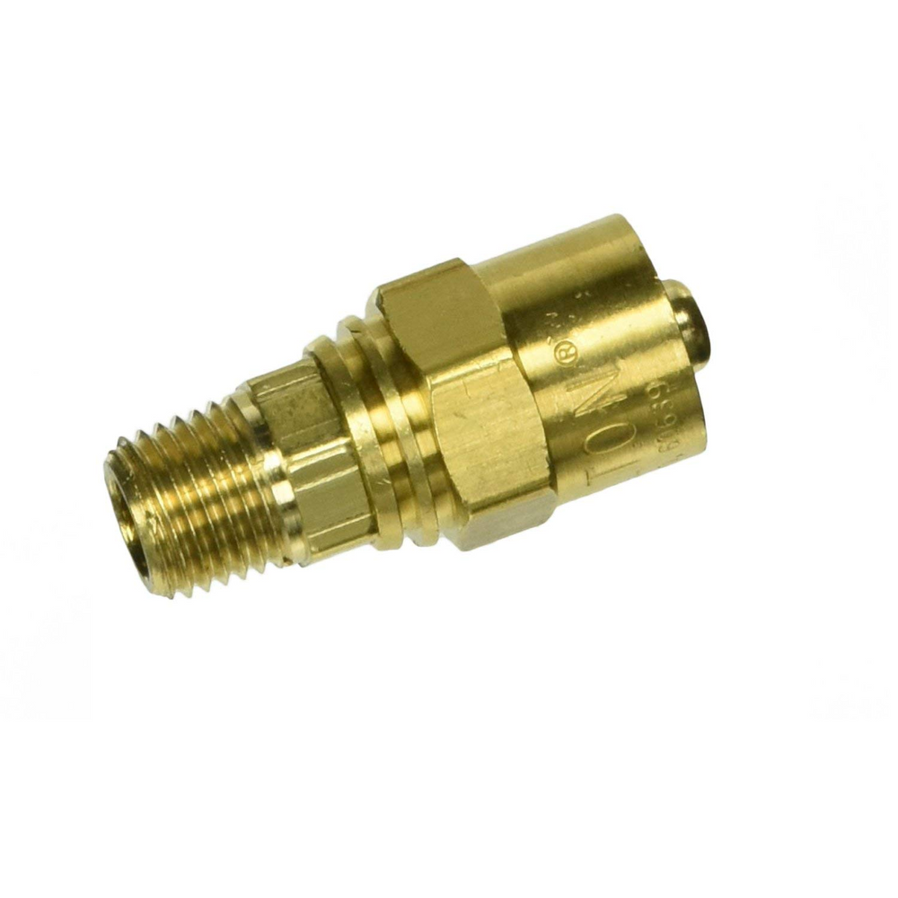 "Milton S-617 1/4"" NPT Male Reusable Brass Hose End"