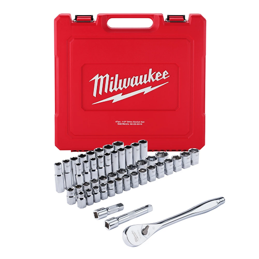 "Milwaukee 48-22-9010 1/2"" Drive 47-Piece Ratchet & Socket Set - SAE & Metric"