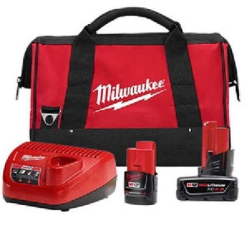 Milwaukee 48-59-2424P M12 4/2 Amp Starter Pack with Bag