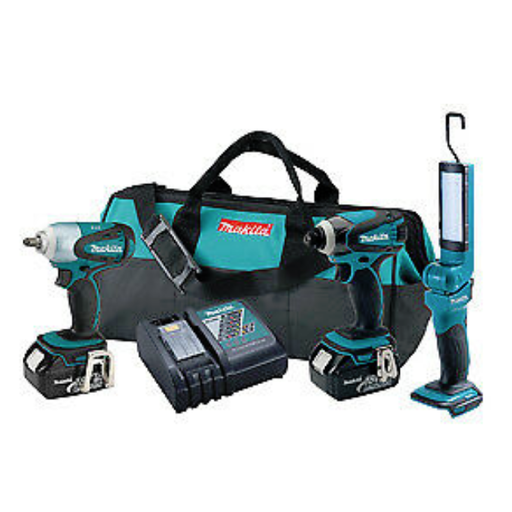 Makita LXT320 18 Volt Impact Driver, Wrench, and Flashlight Combo Kit