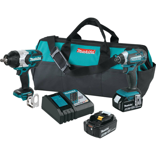 "Makita XT270 18 Volt LXT 2 Piece Cordless Impact Driver and 1/2"" Impact Wrench Kit"