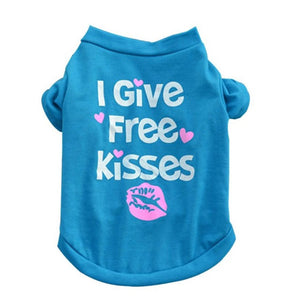 I Give Free Kisses Dog Tee - Blue