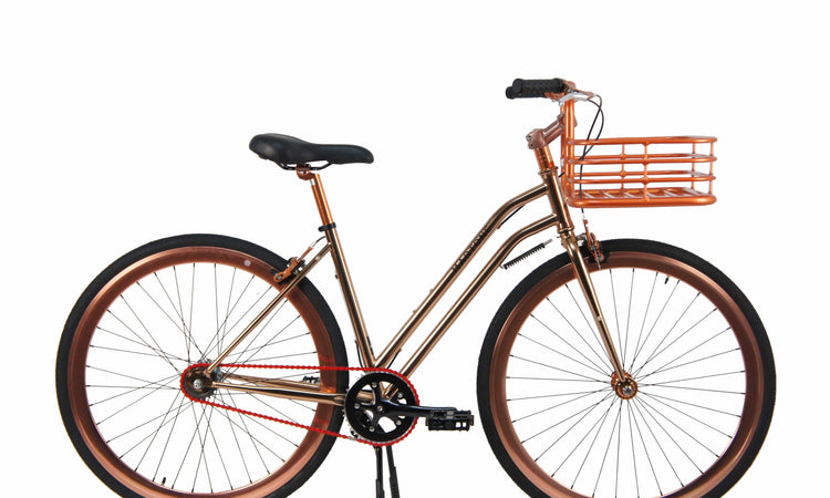 Rose Gold Studio City Step Through V2 Bicycle with basket