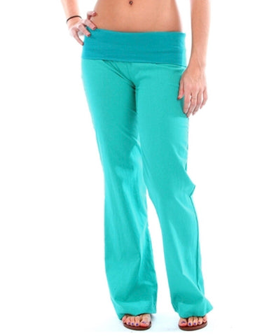 Green fold over pants